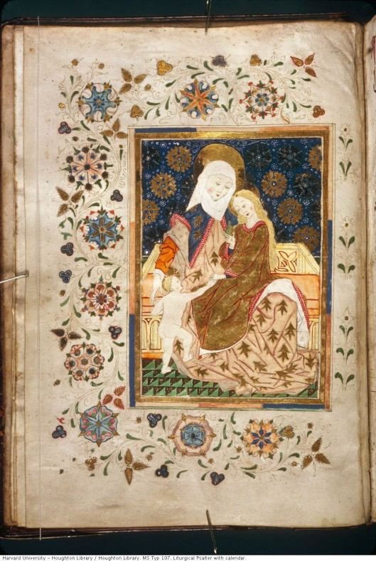 St. Anne with the Virgin Mary and Infant Christ (Houghton, MS Typ 197), fol. 7v.