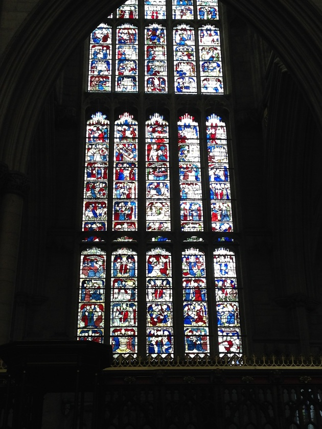Photograph showing view of the St. William widow from the south side of the choir in the eastern arm of the York Minster.