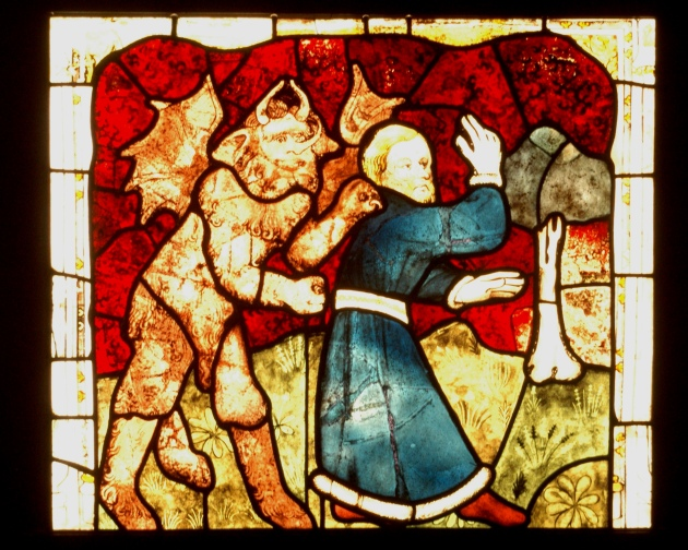 Panel 12a of St. William Window, Ethiopian/Demon chasing a man